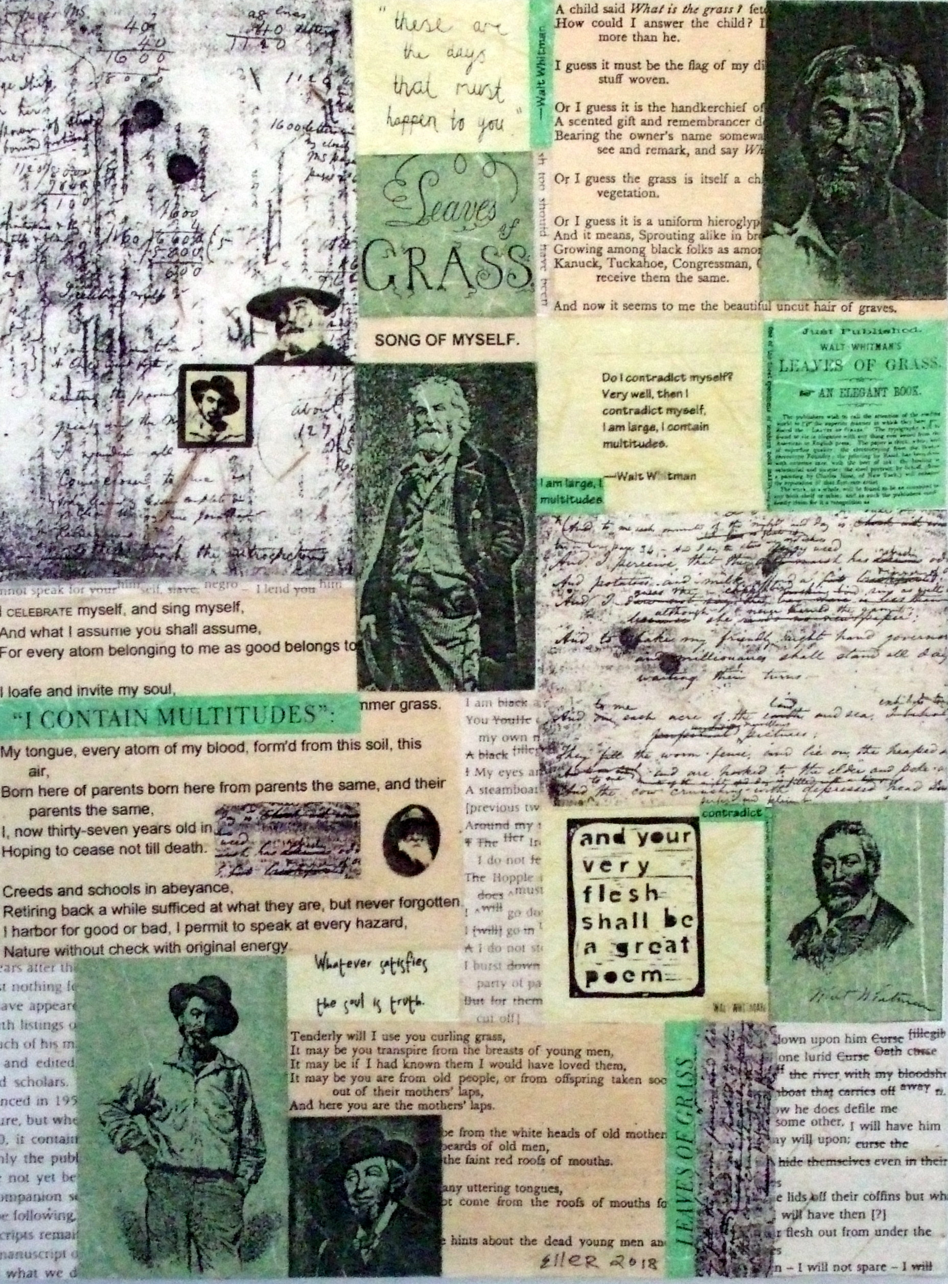 a collage of walt whitman's words in green and tan