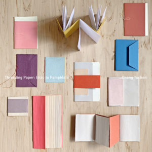 A series of colorful Pamphlet Stitch booklets with the name of the class and instructor typed across the image.