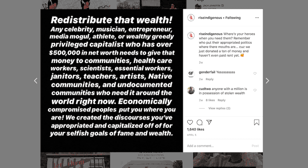 Instagram post reading: Redistribute that wealth cabc