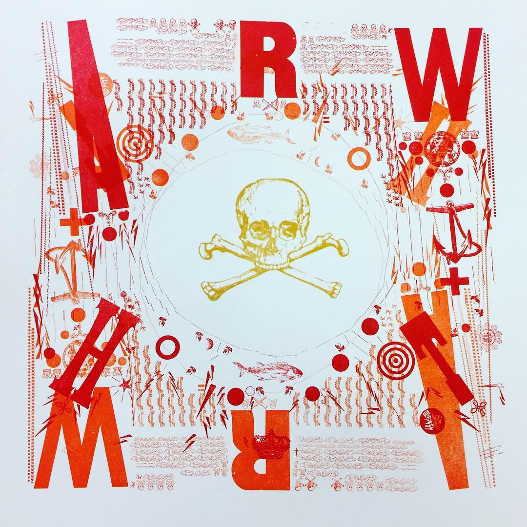 skull and crossbones surrounded by red letters