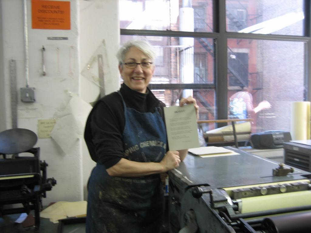 Diane Schenker at CBA in the printshop
