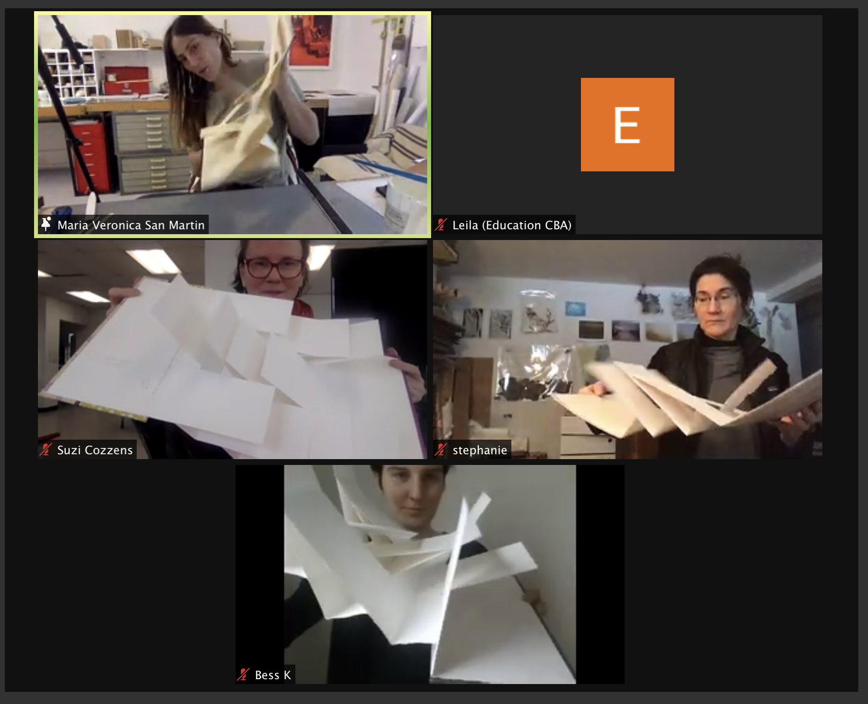 Zoom screenshot of flag books made in How to Conceptualize and Create an Artist Book.