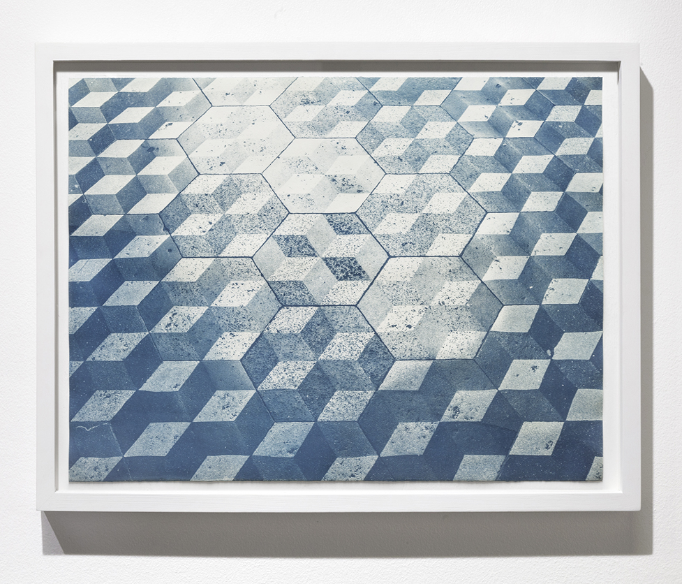 Untitled II by Claudia Cortinez. The piece is a cyanotype piece with blue geometric shapes throughout.