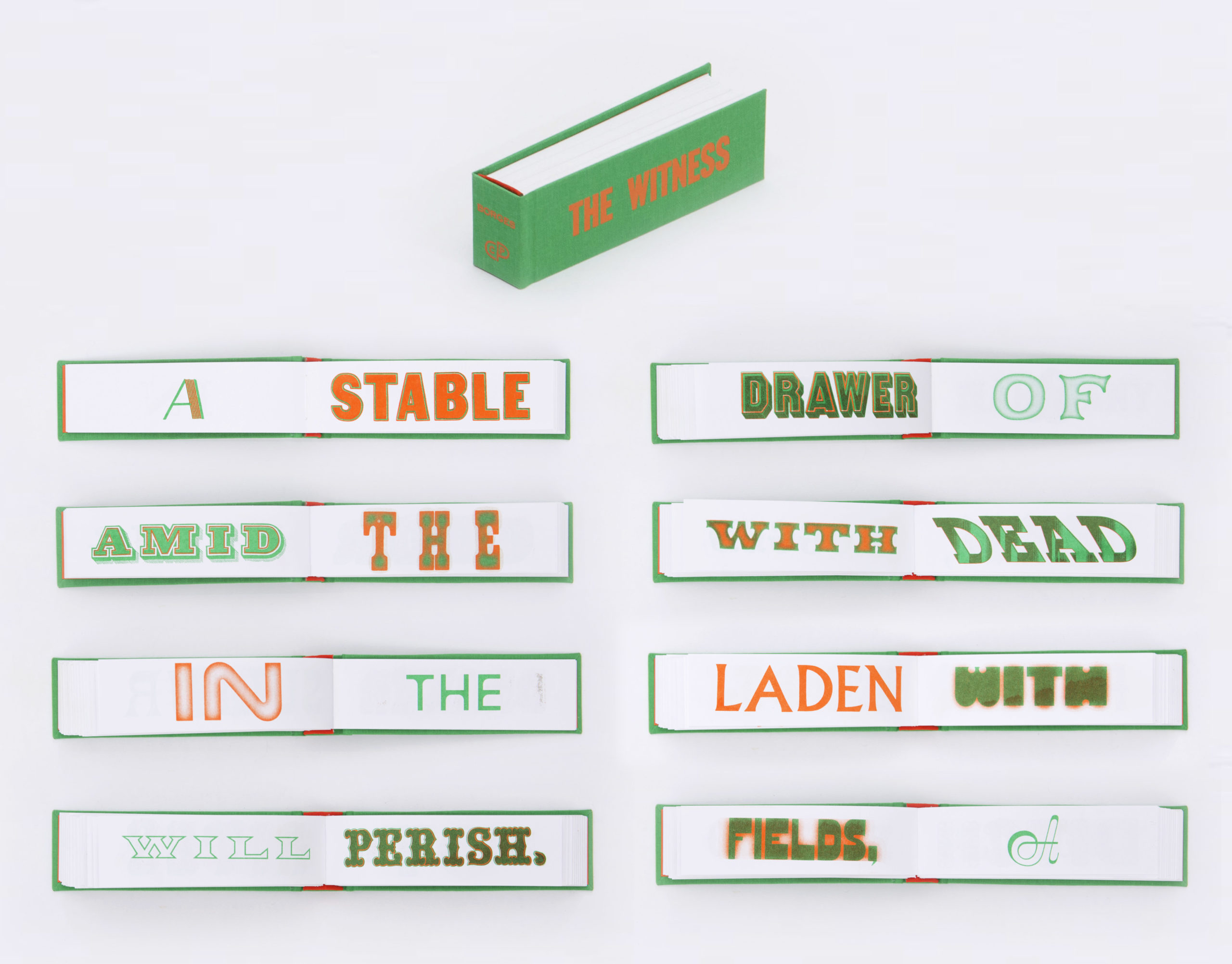 green oblong book with one word per pages printed in green and orange
