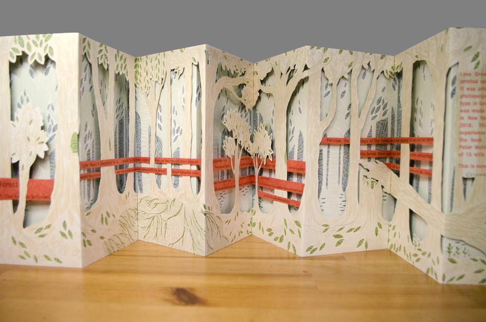 accordion book with a forest of trees
