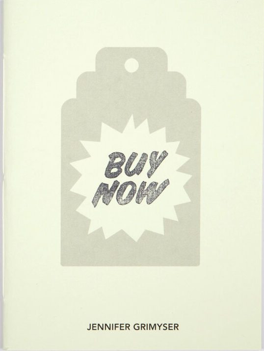 """White artists' book over white surface, the cover shows a stamped-like grey price-tag which contains the words """"Buy Now"""""""