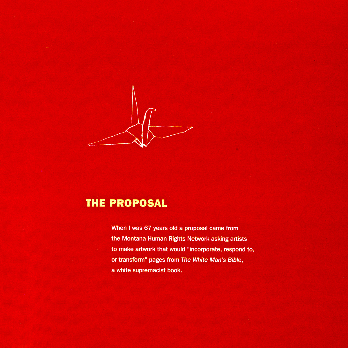Transforming Hate by Clarissa Sligh. Red page: the proposal for the book project.