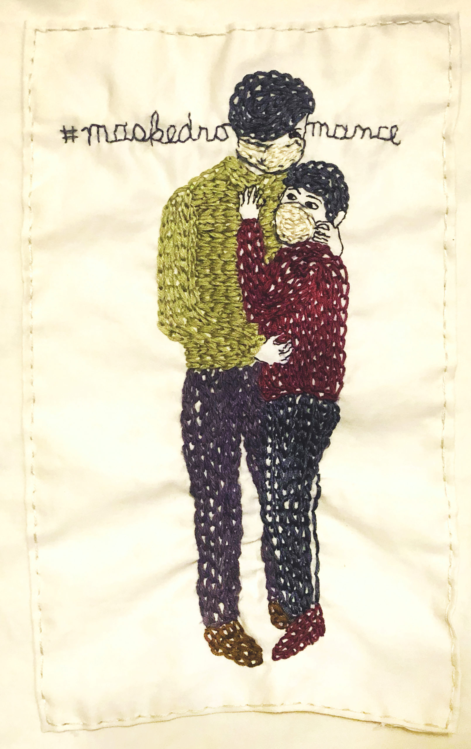 Embroidered work: Masked Romance by Iviva Olenick