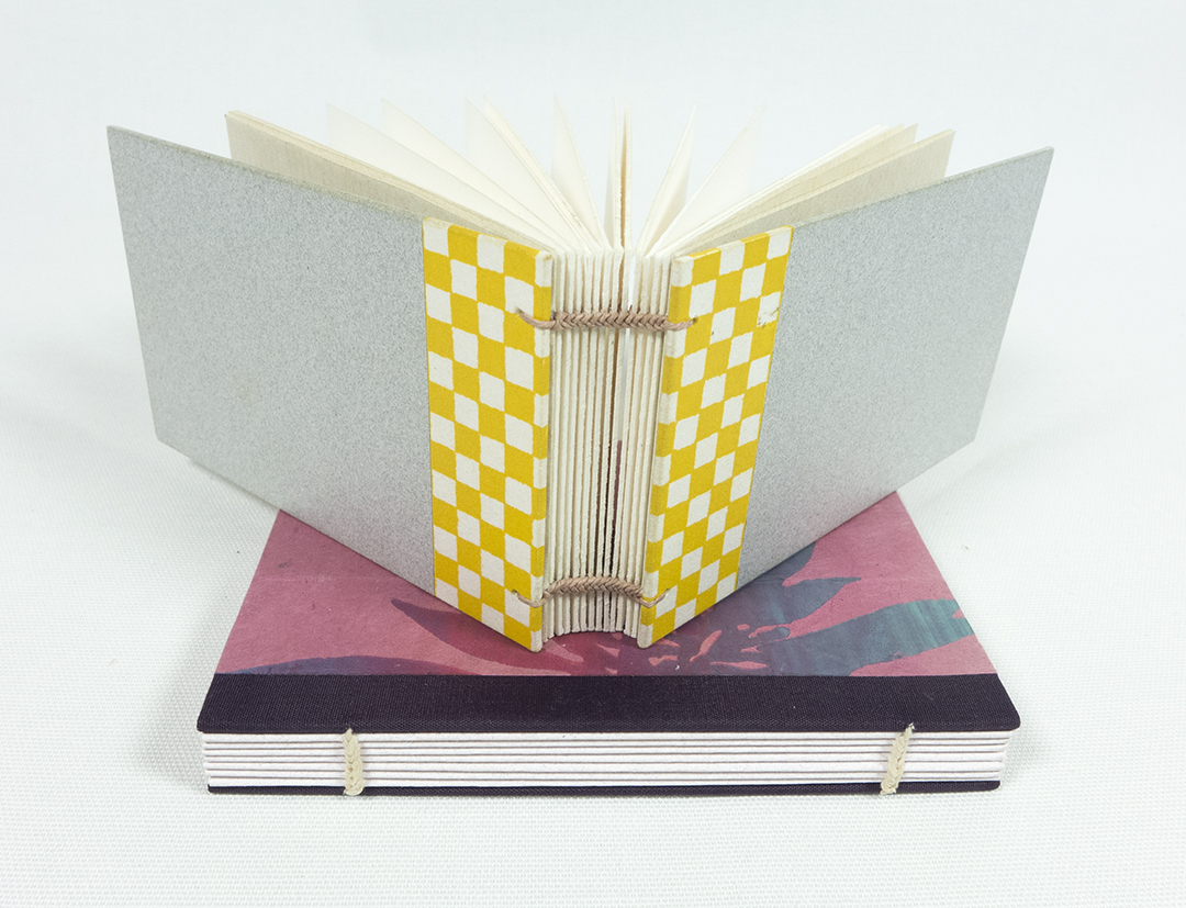 Two colorful examples of paired station coptic books by Scott McCarney