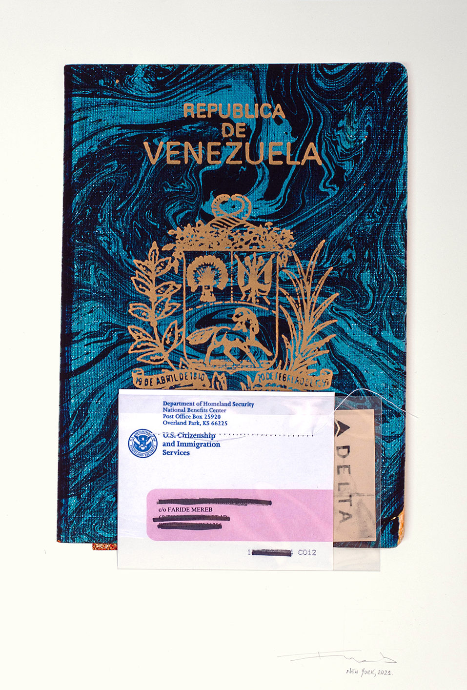 A photo of a print resembling a Venezuelan passport with other documents sewn to it