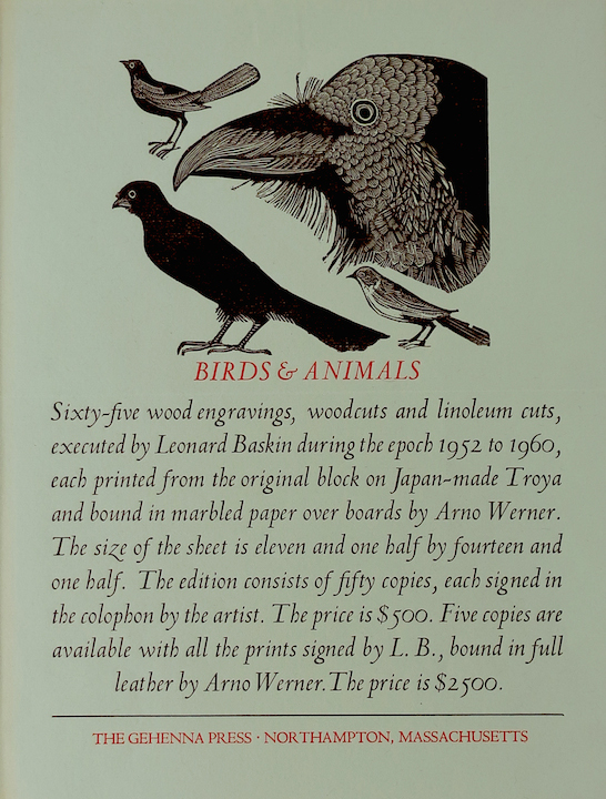 A colophon/prospectus example for Roni's class. There are illustrations of various birds at the top of the page.