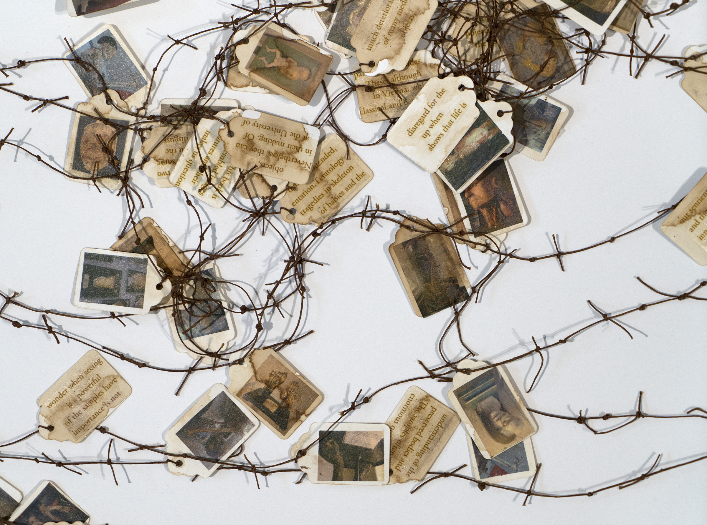 Several hang tags with images of people and text connected by reddish brown string tied together