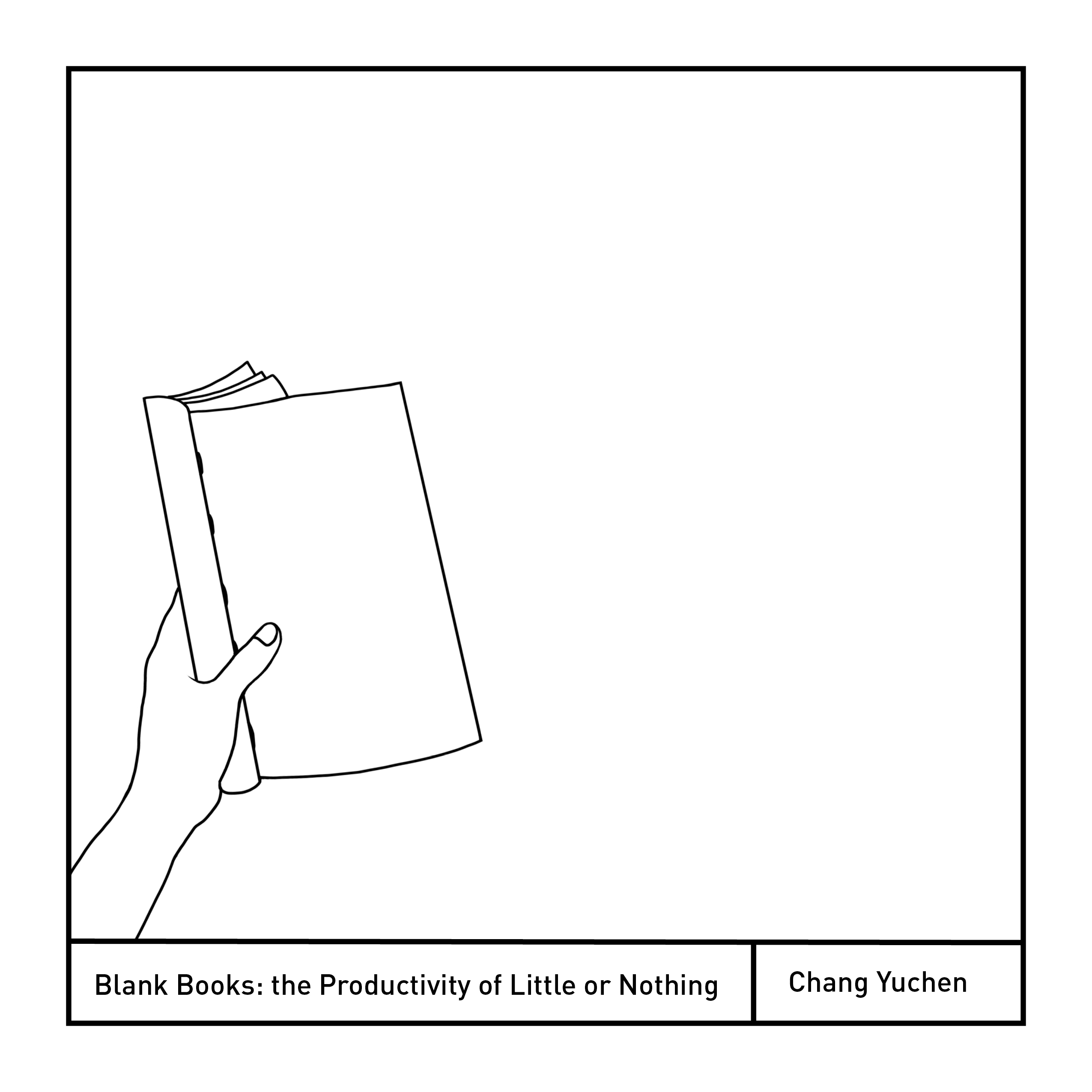 Digitally drawn image of hand holding a blank book with a white background.