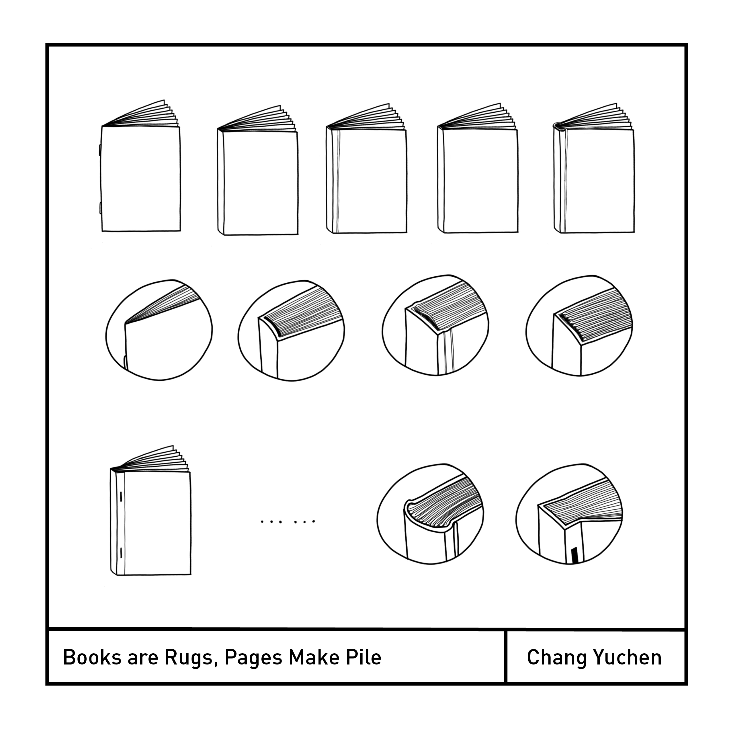 Digitally drawn square image of open books and close ups of their spines.