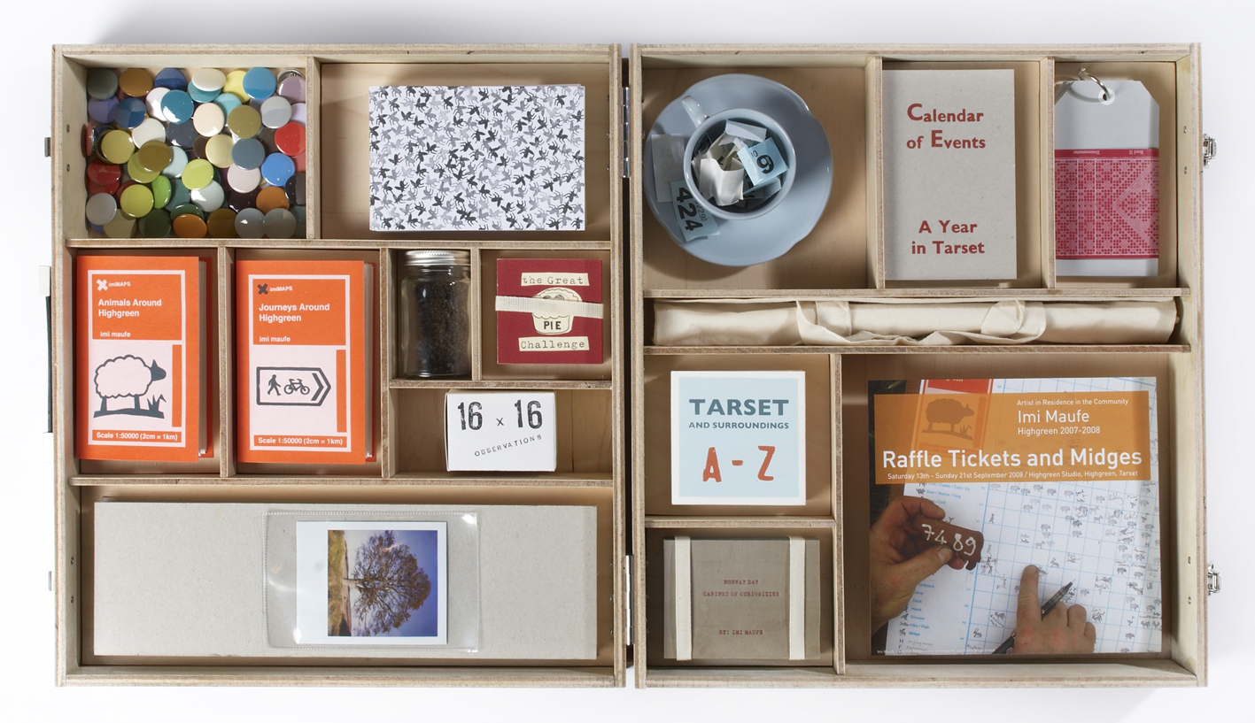 Image of an open box/case containing different compartments of objects neatly sorted.