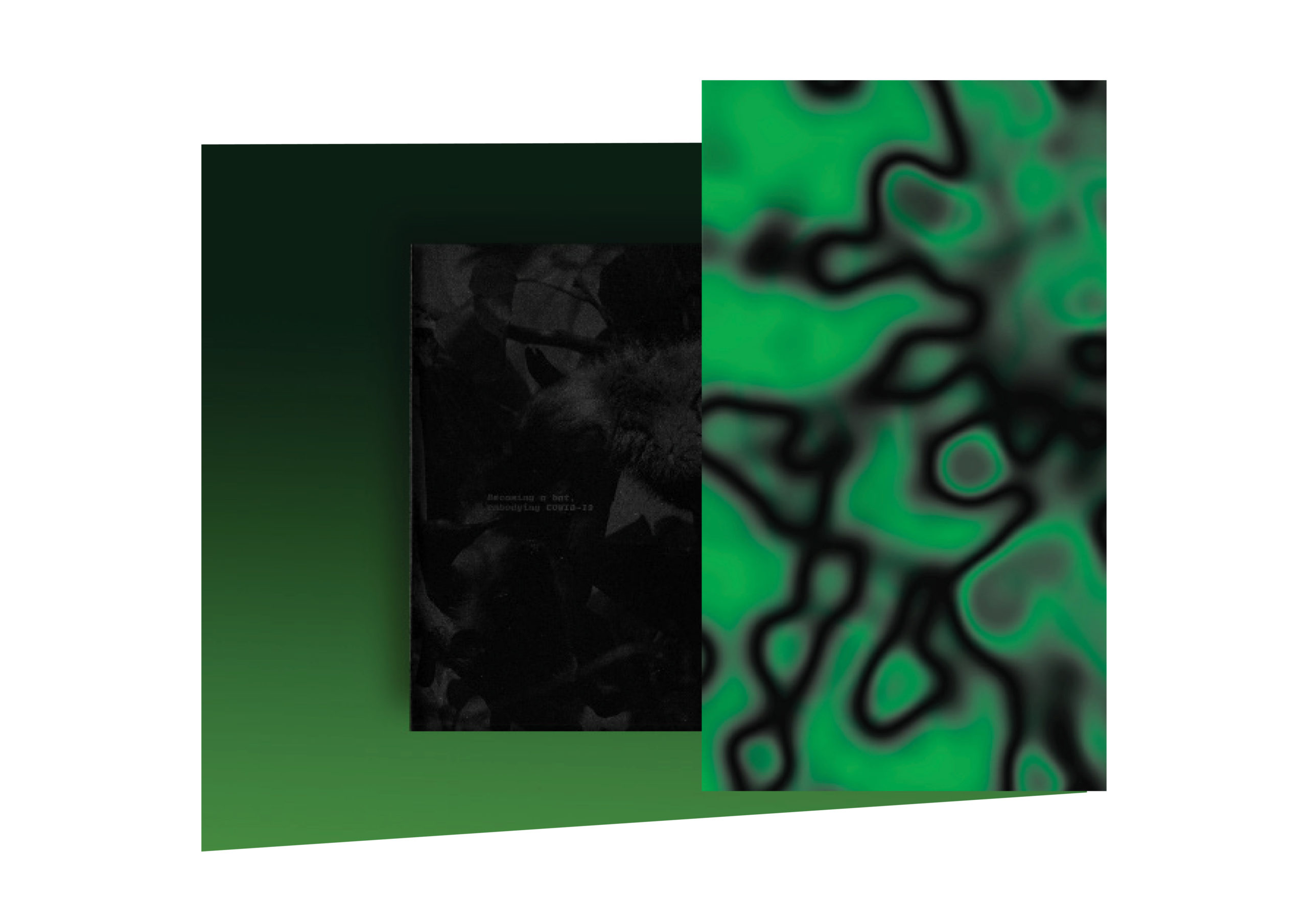 Image of a book with a green digital overlay of organic shapes out of focus