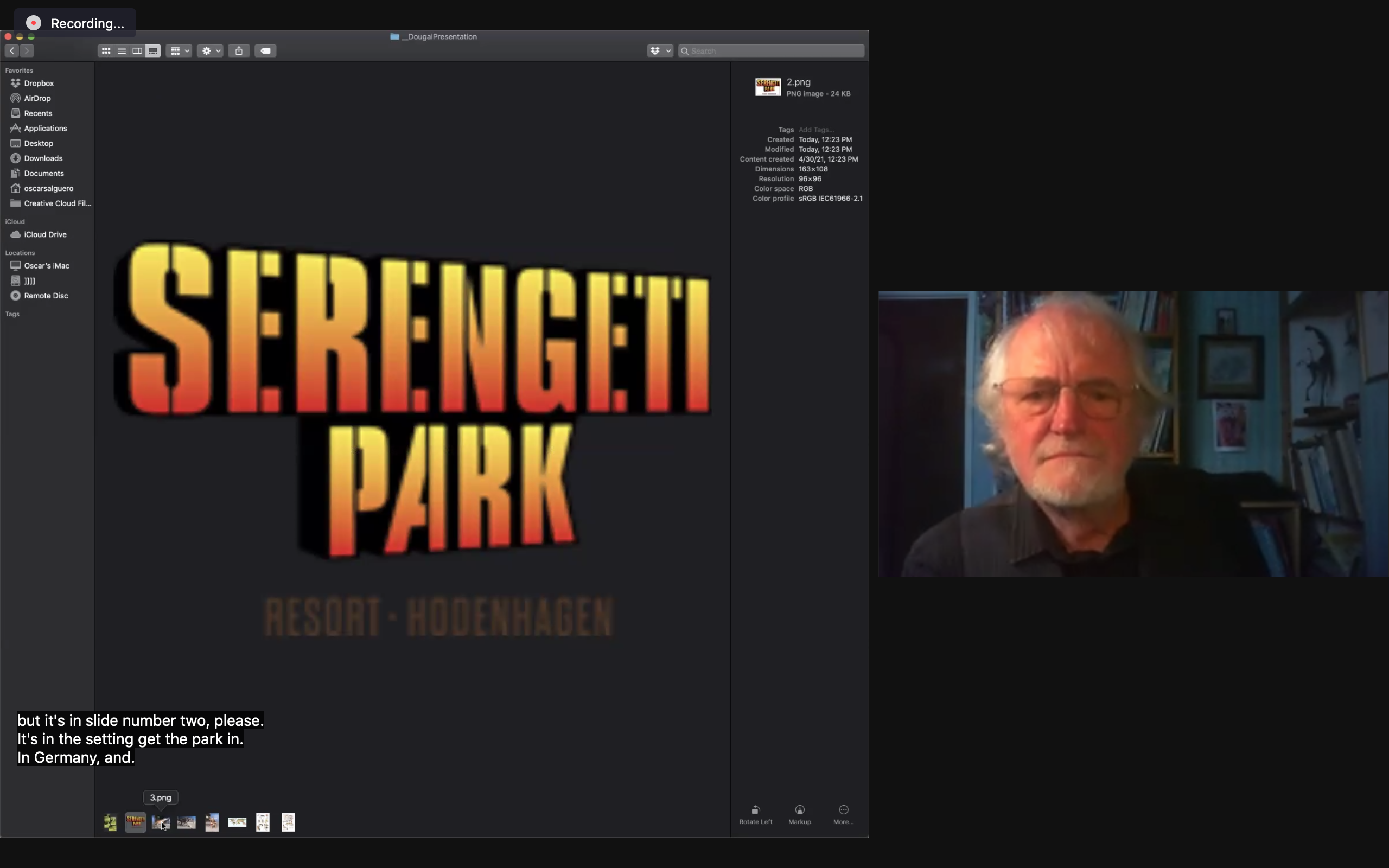 """Screen Capture of Dougal Dixon and an image: text that reads """"Serengeti Park"""""""