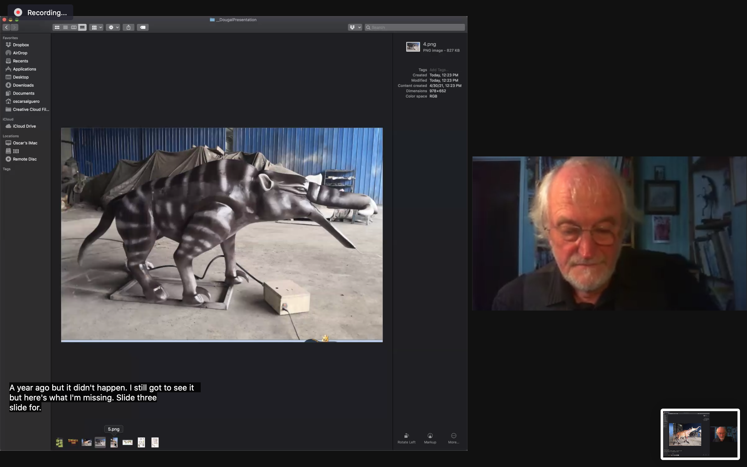 Screen Capture of Dougal Dixon and an image of a speculative species