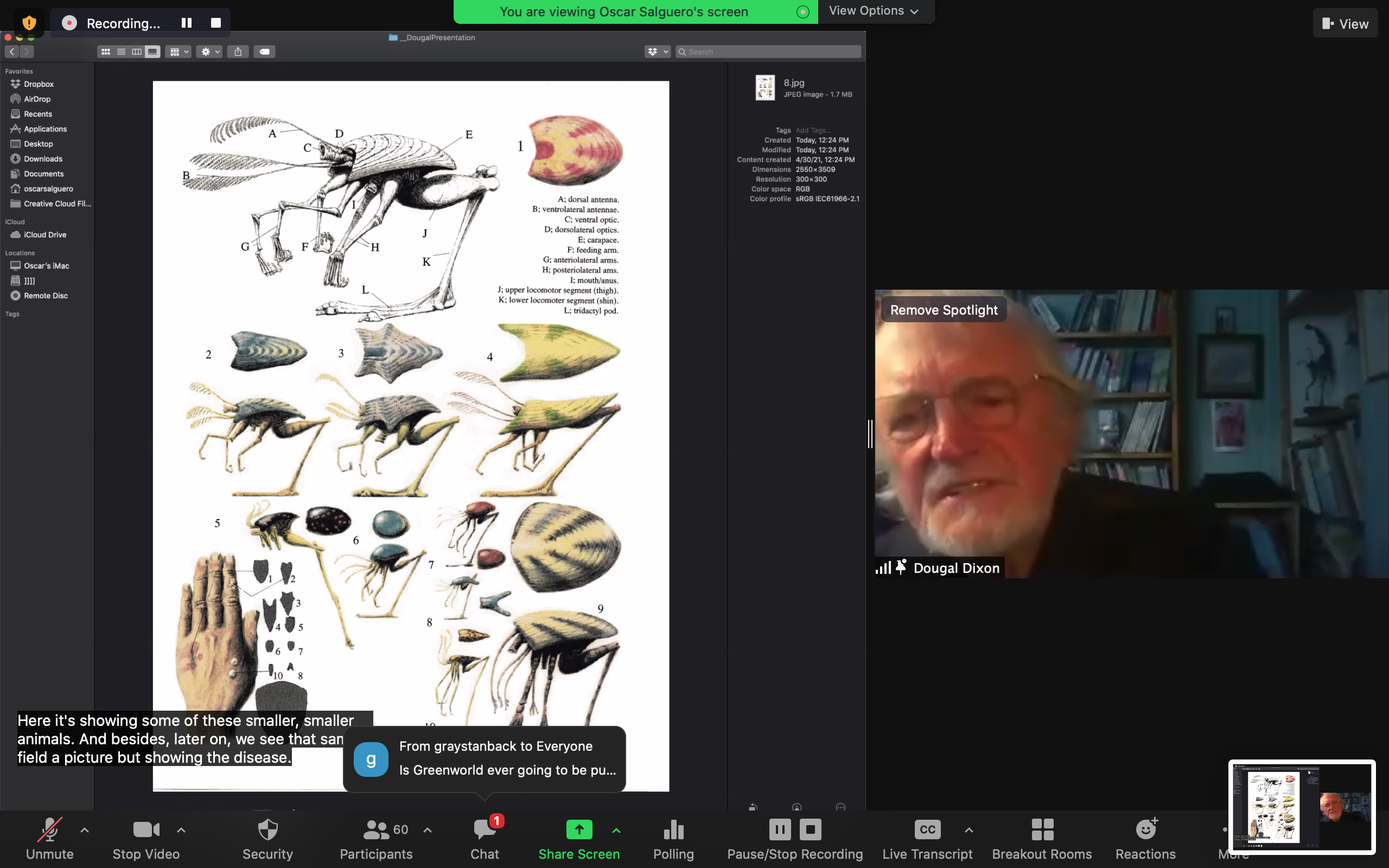 Screen Capture of Dougal Dixon and an image of speculative species
