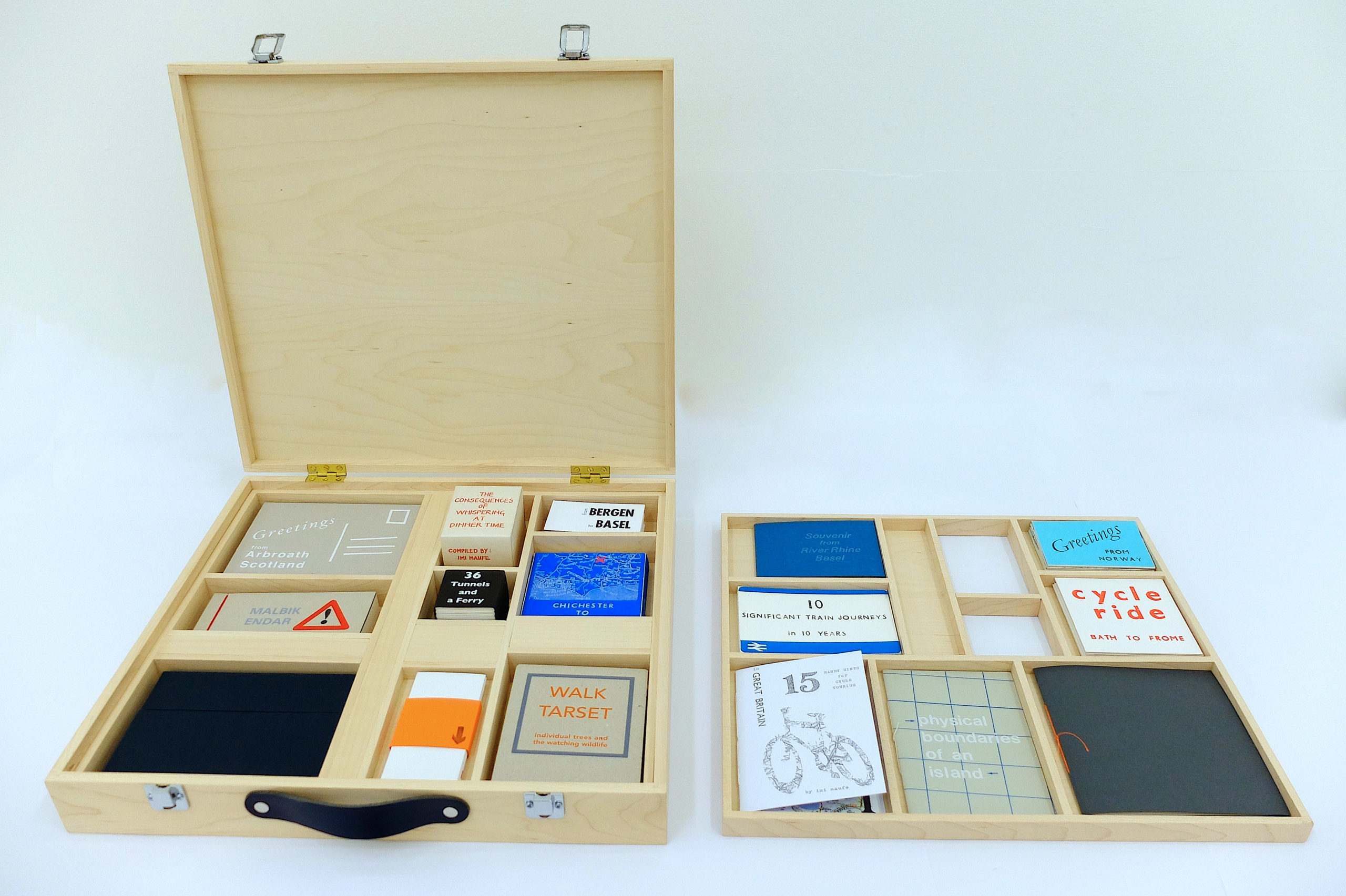 Image of an opened suitcase with several compartments with different books of an array of sizes and shapes.