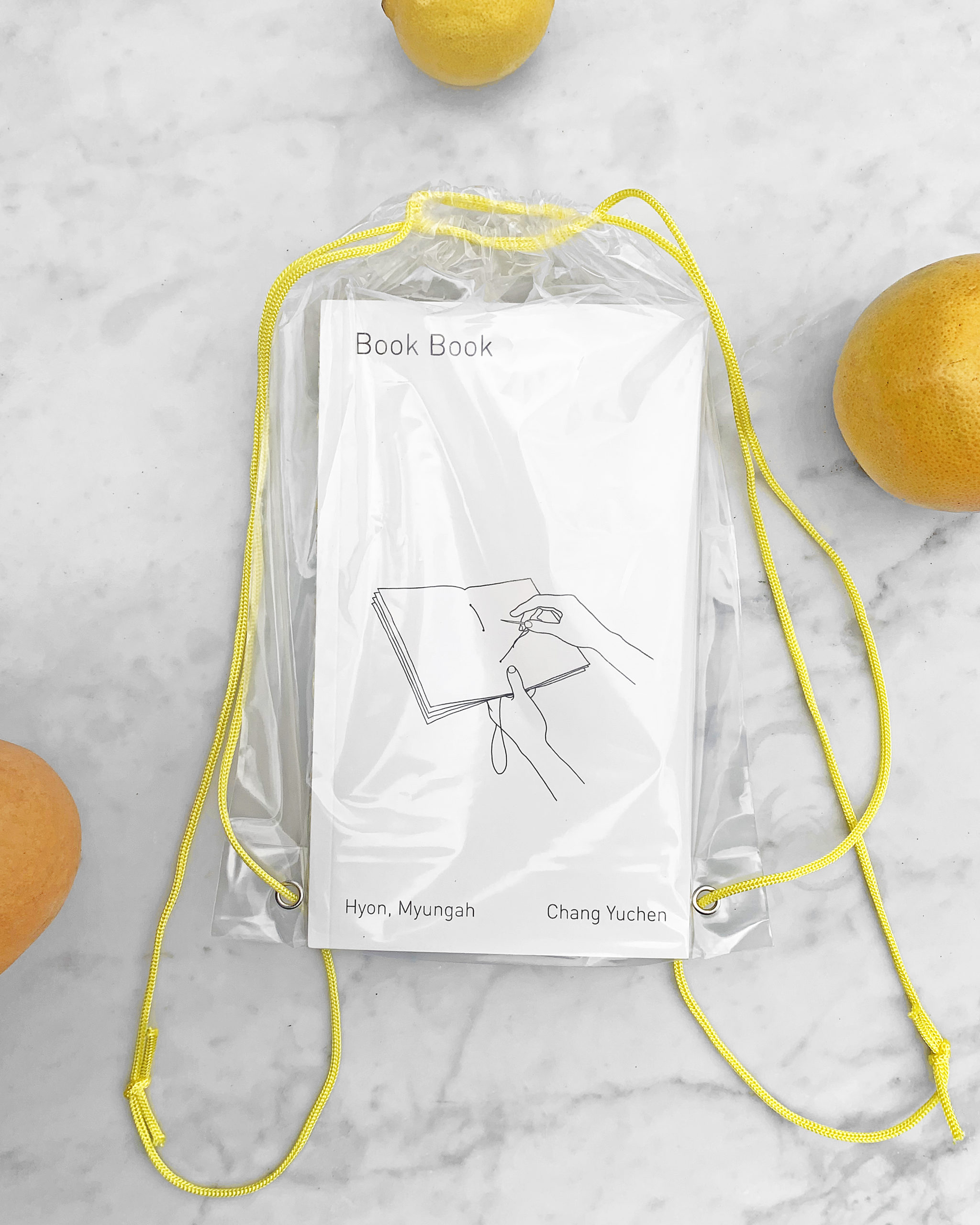 book book in a clear plastic knapsack will yellow chords