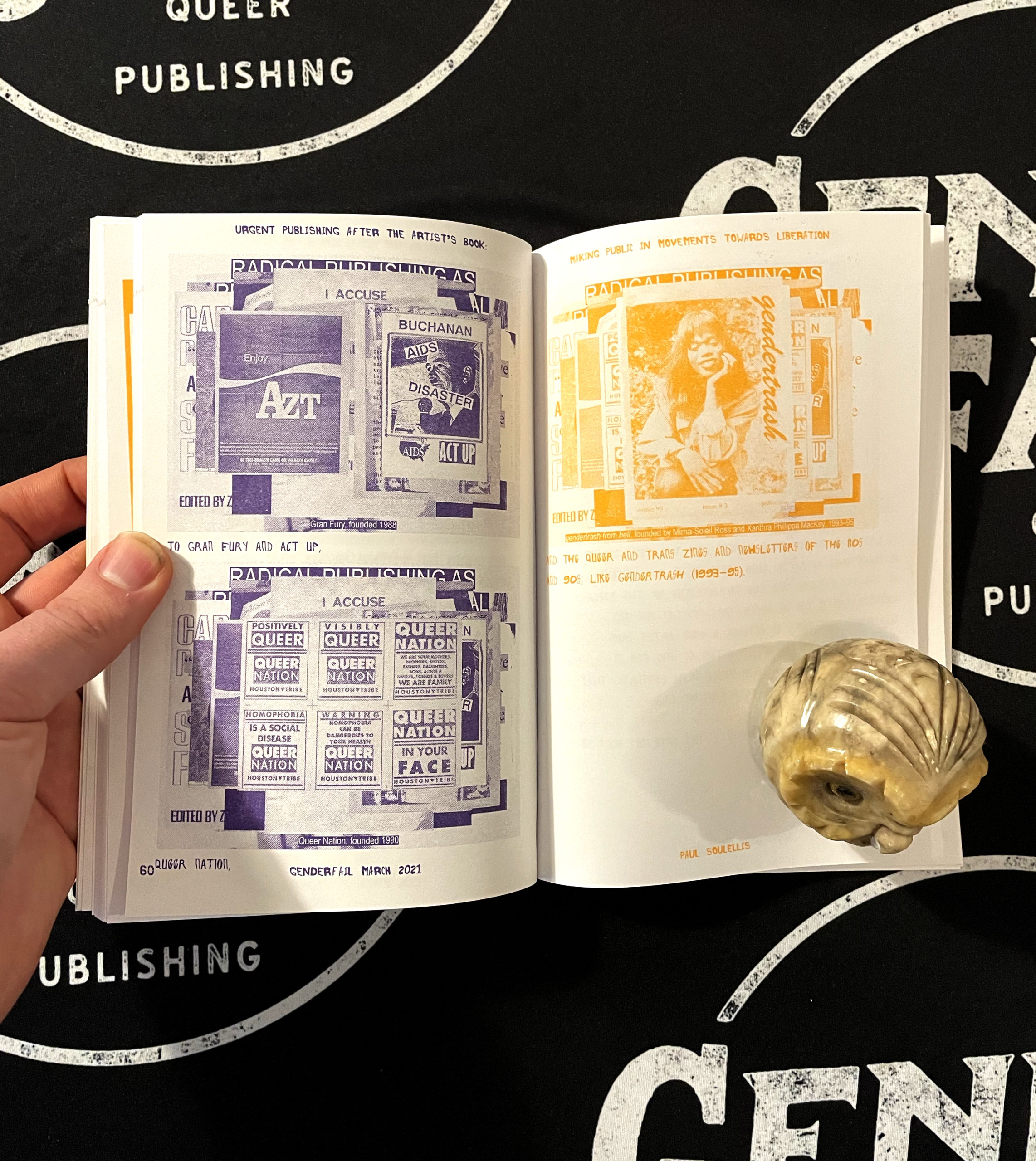 Risograph printed book spread in purple and orange