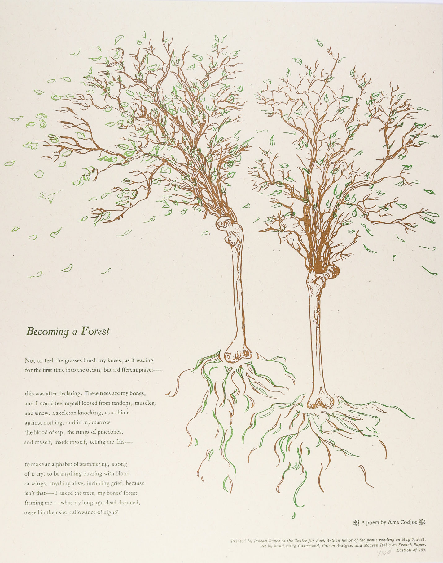 Broadside with bone trees and the poem on the bottom lefthand side of the page.