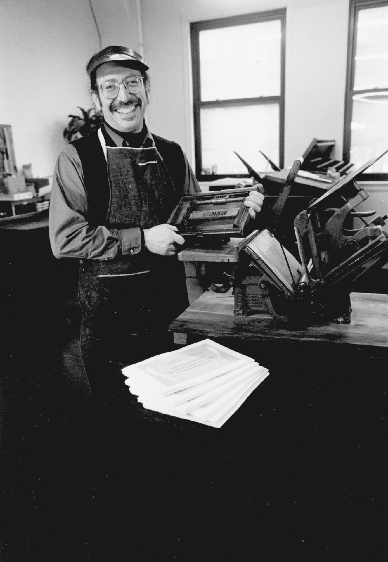 Black and white photo of Allan Kornblum, the creator of the independent publisher Coffee House Press, in 1989. Photo for bio page