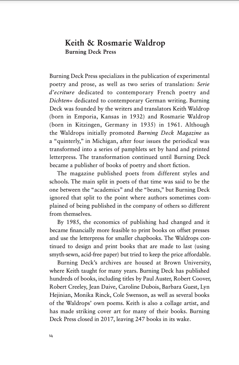 Page from Poetics of the Press, featuring Keith and Rosmarie Waldrop
