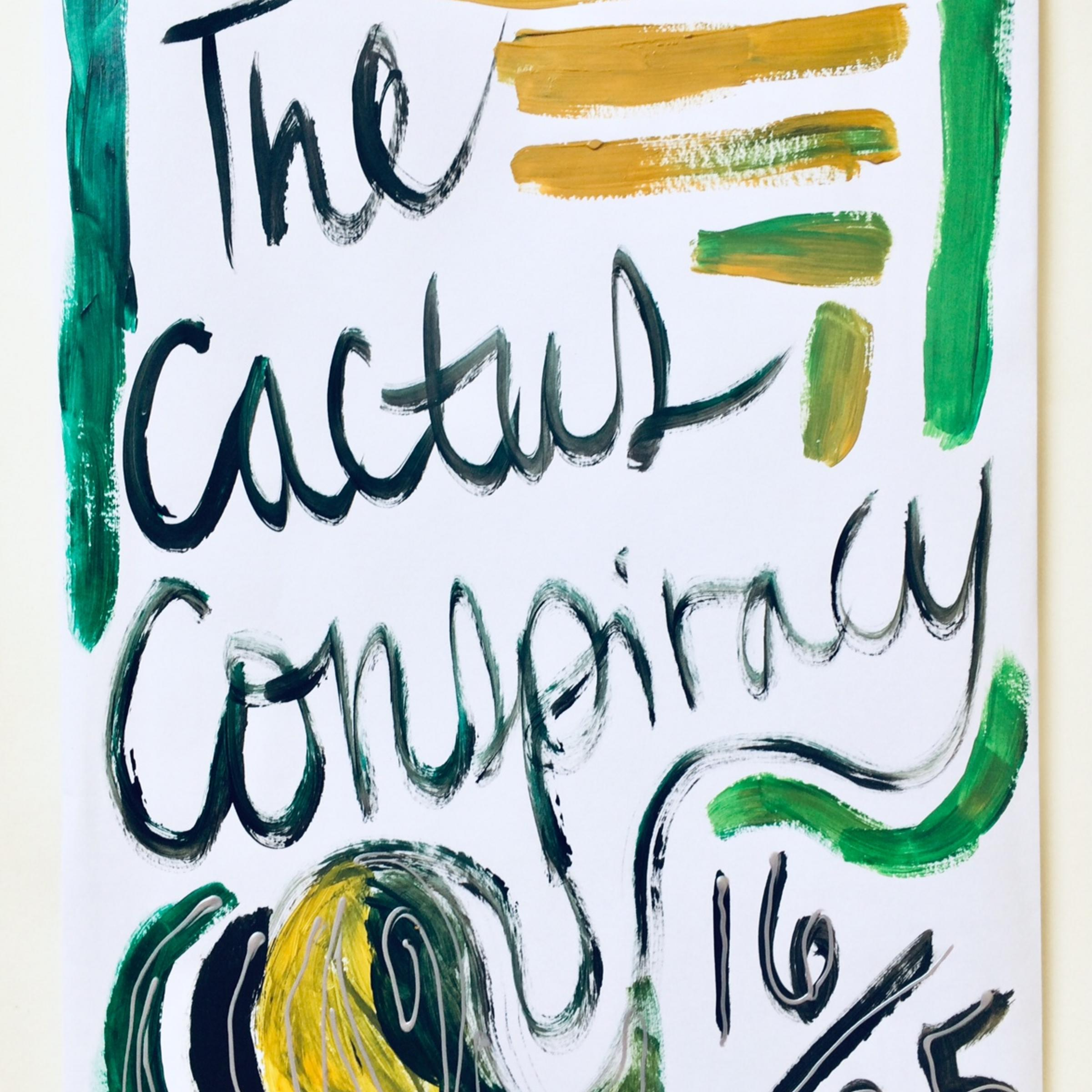 The hand-painted envelope front-cover that says: The Cactus Conspiracy