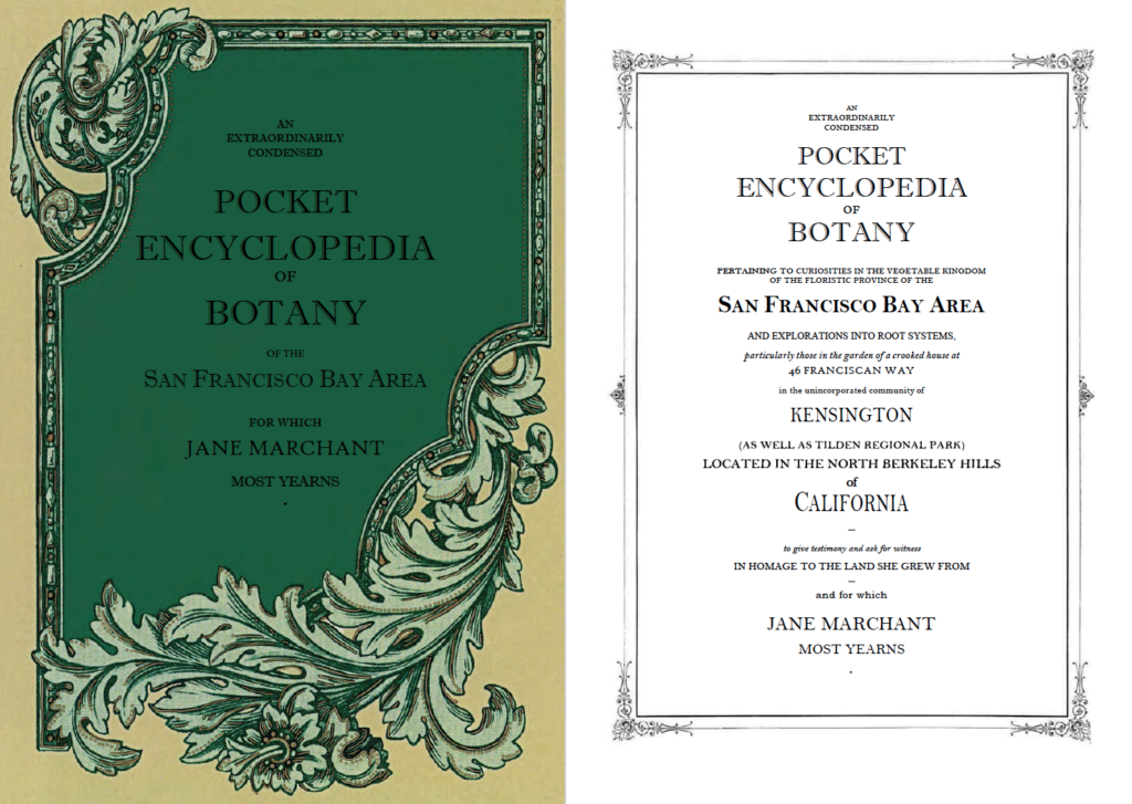 Two-page spread of dark and light green cover and title page, detailing the Extraordinarily Condensed Pocket Encyclopedia of Botany of the San Francisco Bay Area