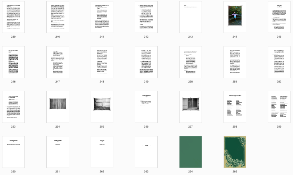 Screenshot image of the last 27 pages of the manuscript, including the photographs, plant entries, an appendix, and the back cover.