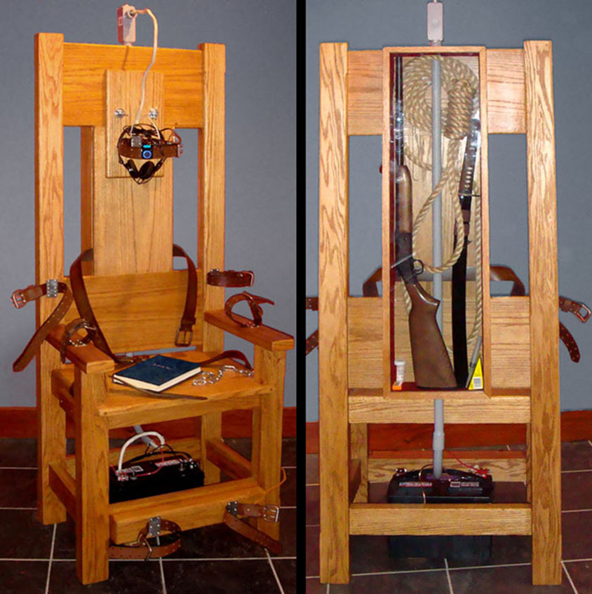 sculpture in the form of an electric chair