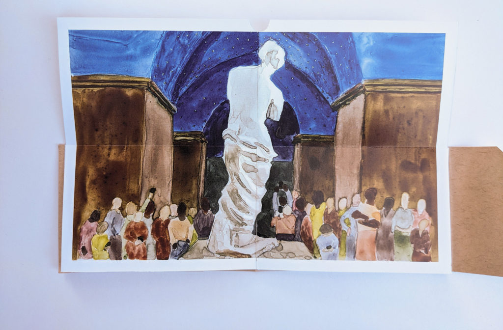 Open spread showing pages six and seven of the book, a watercolor illustration that folds open, doubling the height of the regular page. It depicts the Venus de Milo from behind, she stands bright white against a dark background of thick, architectural pillars that hold up a domed ceiling. The pillars are medium warm brown tones and the arched ceiling is in vibrant shades of ultramarine blue with tiny stars etched into the domes. At the foot of the statue, various faceless onlookers stare up at her or stare down at their phones. These viewers are wearing muted colors including sap green, dark peach, maroon, and grey-blue.