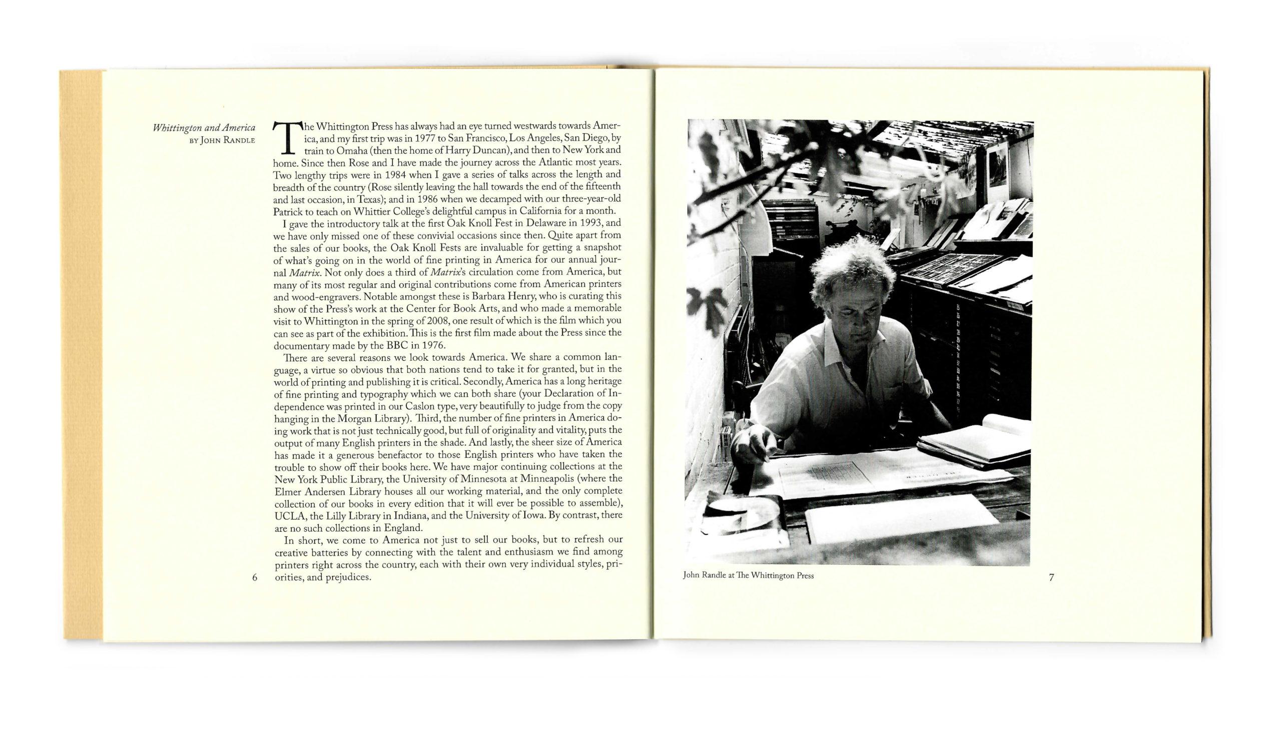 John Randle's essay on whittington press with Image of Jon at the workbench